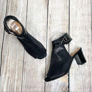 Azura Faux Leather Voljett Open Toe Ankle Heels